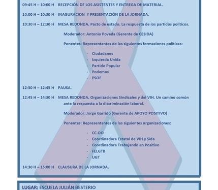 Organizaciones sindicales y sociales organizan la Jornada gratuita VIH y DiscriminaciónLaboral