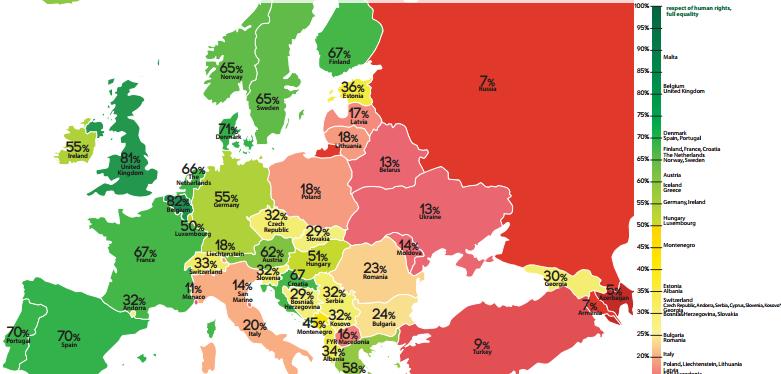 España se sitúa en el quinto puesto en derechos LGTB enEuropa