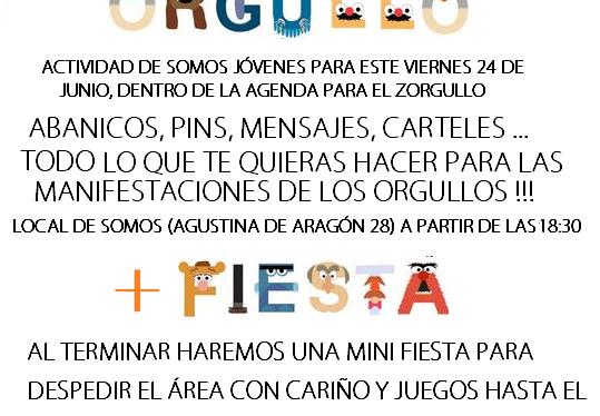 Z-Orgullo'16 Este viernes, el Grupo de Jóvenes nos invita a sus Talleres conOrgullo